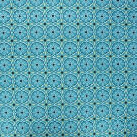 Coated cotton fabric - duck blue Suez x 10cm