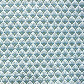 Tissu coton enduit Baker - bleu pétrole x 10cm