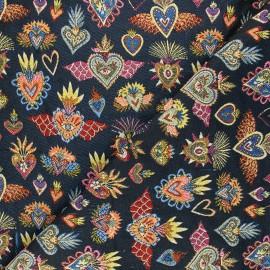 Tissu jacquard Corazon - bleu x 10cm