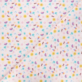 Cretonne cotton fabric - pink Tutti x 10cm