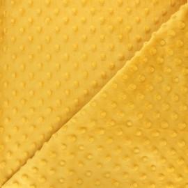 Tissu velours minkee doux relief à pois - jaune moutarde x 10cm