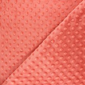 Tissu velours minkee doux relief à pois - rose corail x 10cm