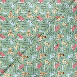 Tissu coton cretonne Dino - vert x 10cm