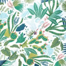 Twill cotton fabric - white Garden x 10cm