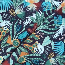Twill cotton fabric - midnight blue Garden x 10cm