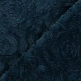 Tissu fourrure Helsinki - bleu pétrole x 10cm