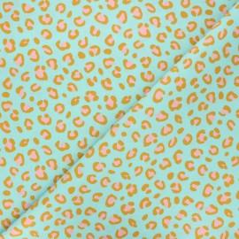 Poppy coated cretonne cotton fabric - celadon Animal skin x 10cm