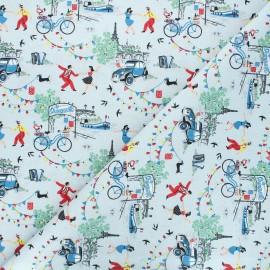 Tissu coton cretonne Douce France - bleu ciel x 10cm