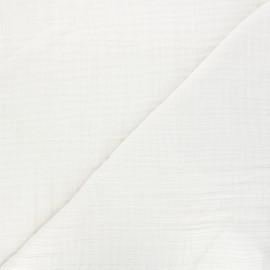 Tissu triple gaze bambou uni - crème x 10cm
