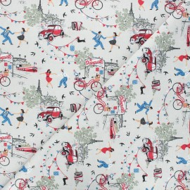 Tissu coton cretonne Douce France - lin x 10cm