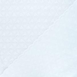 Tissu voile de coton brodé festonné Anabelle - blanc x 10cm