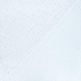 Scalloped openwork cotton voile fabric - white Emily x 10cm