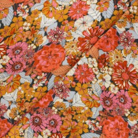 AGF flannel fabric - orange Fleuron haven x 10cm