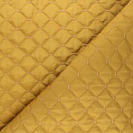 Quilted lining reversible fabric - mustard yellow Puffy x 10cm