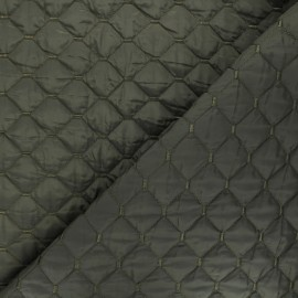 Quilted lining reversible fabric - khaki green Puffy x 10cm