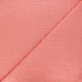 Tissu triple gaze bambou uni - rose thé x 10cm