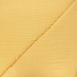 Tissu triple gaze bambou uni - jaune moutarde x 10cm