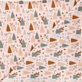 Printed jersey fabric - pink Deer and pine x 10cm