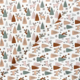 Printed jersey fabric - raw Deer and pine x 10cm
