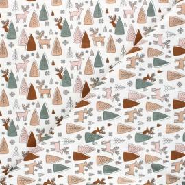 Tissu jersey Deer and pine - écru x 10cm