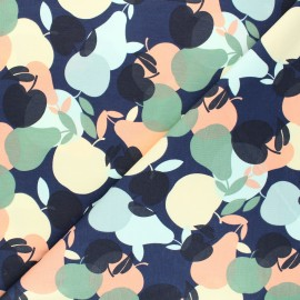 Printed jersey fabric - navy blue Apple day x 10cm