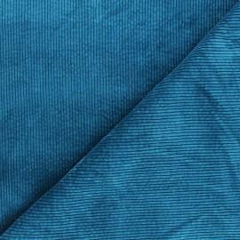 Tissu velours côtelé washé Cardiff - bleu canard x 10cm