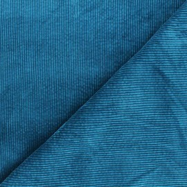 Washed ribbed velvet fabric - duck blue Cardiff x 10cm