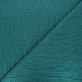 Tissu triple gaze bambou uni - vert paon x 10cm