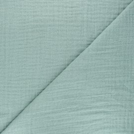 Tissu triple gaze bambou uni - vert romarin x 10cm