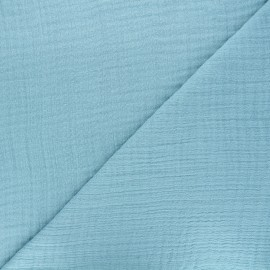 Plain bamboo triple gauze fabric - teal blue x 10cm