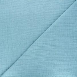 Tissu triple gaze bambou uni - bleu sarcelle x 10cm