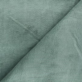 Washed ribbed velvet fabric - sage green Cardiff x 10cm