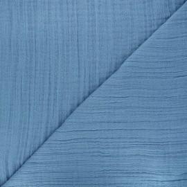 Tissu triple gaze bambou uni - bleu x 10cm