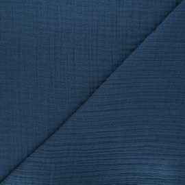 Plain bamboo triple gauze fabric - navy blue x 10cm