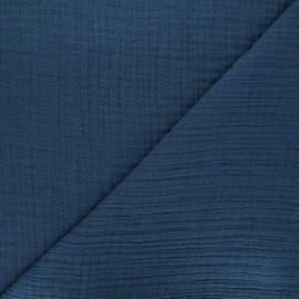 Tissu triple gaze bambou uni - bleu marine x 10cm