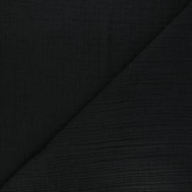 Tissu triple gaze bambou uni - noir x 10cm