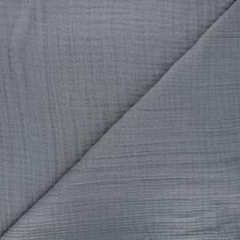 Tissu triple gaze bambou uni - gris x 10cm