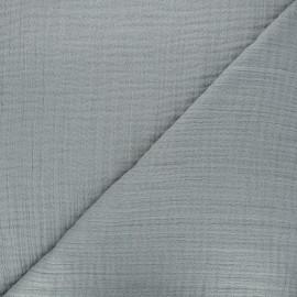 Tissu triple gaze bambou uni - gris clair x 10cm