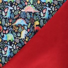 Softshell fabric - night blue Dinosauria x 10cm