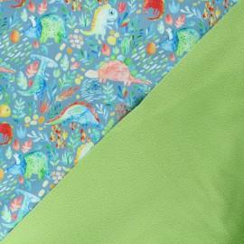 Softshell fabric - grey blue Dinosauria x 10cm