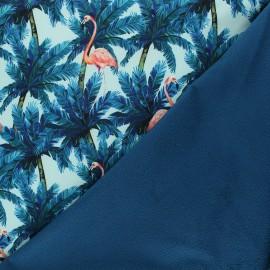Tissu softshell Tropical flamingo - bleu clair x 10cm