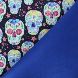 Softshell fabric - night blue Flower skull x 10cm
