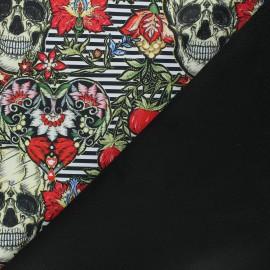 Softshell fabric - black Striped skull x 10cm