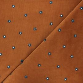 Tissu velours milleraies brodé Daisy - rose x 10cm