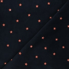 Embroidered Milleraies velvet fabric - grey Daisy x 10cm