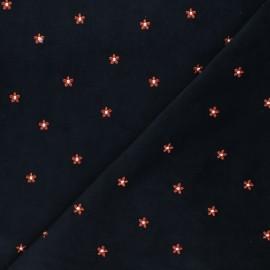 Tissu velours milleraies brodé Daisy - gris x 10cm