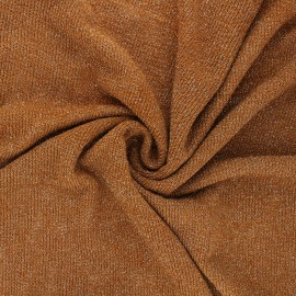 Lurex light knitted fabric - camel Shiny x 10cm