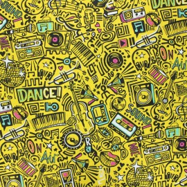 Cretonne cotton fabric - yellow Dance x 10cm