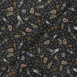 Tissu coton cretonne Blues - blanc x 10cm