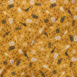 Cretonne cotton fabric - ochre Blues x 10cm
